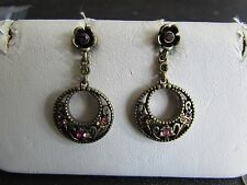Silver Tone Circle Pink Rhinestone Flower Dangle Post Earrings