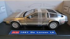 SUN STAR 2701 1:18 SCALE 1981 DMC DeLOREAN LK SILVER ROADCAR BOXED MINT RARE
