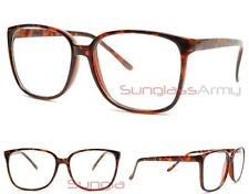 "Large BROWN ""Square Eye Glasses"" CLEAR LENS men women designer fashion oversize"