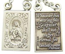 """MRT .925 Sterling Silver Scapular Medal 3/4"""" ea + 18"""" Rhodium Plated Chain Gift"""