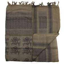 Shemagh Arab scarf Army military colours skull & cross bones pattern Olive Green