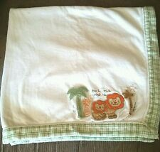 My Little Sunshine Jungle Lion Cream  Baby Blanket Green Cream Tan Plaid Trim
