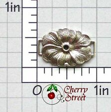 6 Flower Connector Findings Ox Silver Plated Brass 1207so6