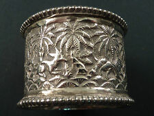 C19th INDIAN EMBOSSED SILVER NAPKIN RING