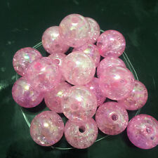 10pcs pink Crackle Glass Round 16mm Beads Jewelry Findings Craft Bead Supply