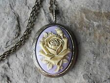 YELLOW GOLDEN ROSE - LAVENDER CAMEO HAND PAINTED LOCKET -ANTIQUE BRONZE, VINTAGE