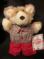 """Wendy's Furskins Bear 1986 with Tags Vintage Red Plaid Shirt Free US Shipping 7"""""""