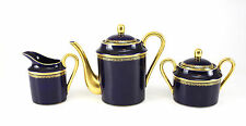 3pc Limoges France Singer Cobalt Blue Gilt Tea Set. Teapot, creamer & sugar Bowl