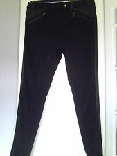 SIZE 10 BLACK ATMOSPHERE SKINNY TROUSERS. SNAKESKIN LEATHER LOOK SEAMS & TRIMS.
