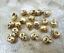 20 Pewter Gold Tone Beads-5.5mm SKULL with Horizontal Hole - 5064