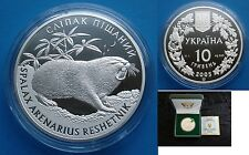 RARE 2005 Ukraine 10 UAH PROOF 1 OZ Silver Spalax Mole Rat-box-mintage 8000