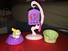FISHER PRICE LOVING FAMILY DOLL HOUSE TALKING PARROT WHITE CAT WITH BED