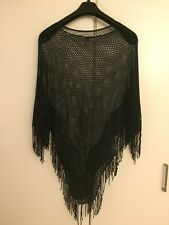 Quality Black Crochet Lace Poncho with slight stretch and fringe
