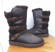 Women's UGG Becket Chocolate Leather Shearling Lined Warm Winter Boots 7US New