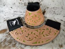 Pair Tooled Leather LIME GREEN Inlay Bell Boots Rodeo & Trails New Horse Tack