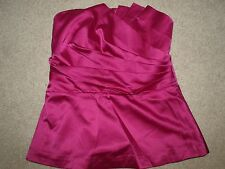 NEW Women's The Limited Fuchsia Strapless Pleated Peplum Top Size Small $50