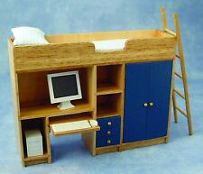 BLUE COMPUTER BUNK BED WITH WARDROBE, COMPUTER & PULL OUT DESK