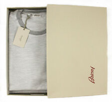 New BRIONI Gray White Striped Jersey Cotton Silk Crewneck T-Shirt L NIB $450!