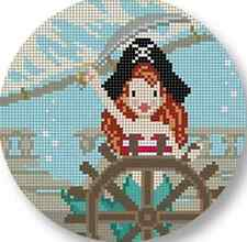 "Needlepoint Handpainted STARKE Art Christmas MERMAID Jolly Roger 4.5"" Ornament"