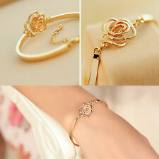 Special Women Crystal Rose Flower Bangle Gold Filled Cuff Chain Bracelet  GTAU