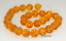 14MM  CITRINE QUARTZ GEMSTONE ROUND LOOSE BEADS 7""