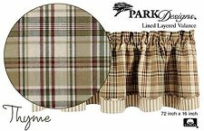 Thyme Layered Valance by Park Designs, 72x16, Cool Country Plaid, Lined, One