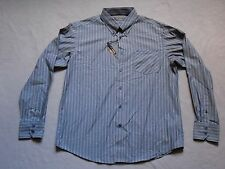 BEN SHERMAN MENS PRIZE BLUE AND BROWN STRIPED MOD BUTTON UP SHIRT SIZE 2XL NEW