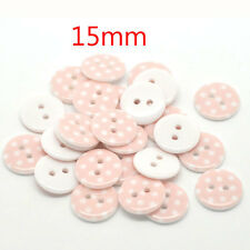 100 Pcs Pink Dot 2 Holes Resin Sewing Buttons Scrapbooking 15mm Dia.Knopf Bouton