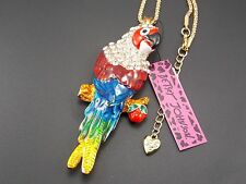 Betsey Johnson!Cute fashion inlay Crystal Parrot Pendant Necklace # B104