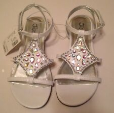 JUSTICE WHITE METALLIC JEWELED SANDALS SHOES SZ 3 NWT RV $42.90