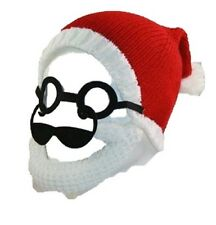 mens christmas beanie beard hat novelty fun dettachable beard COOL