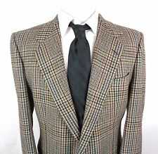 Vtg Ermenegildo Zegna 42R Sport Coat 100% Cashmere 2 Button Glen Plaid Blazer