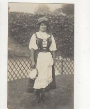 Woman With Tambourine Vintage RP Postcard 590a
