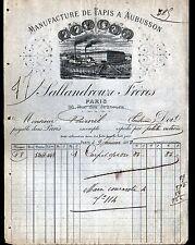 """PARIS (II°) TAPIS de MANUFACTURE d'AUBUSSON (23) """" SALLANDROUZE """" en 1885"""