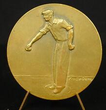 Medaille pétanque jeu de boule bowling alley ball sc Fraisse-Demey 50 mm medal