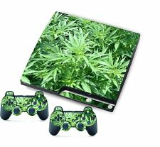 Green Leaf for PlayStation 3 PS3 Slim Console Controller Custom Stickers Skins