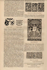 MARQUES ET ORNEMENTS DES EDITIONS INCUNABLES ARTICLE PRESS 1855 FRENCH CLIPPING