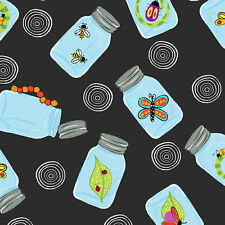BUGAPALOOZA~BY 1/2 YD~IN THE BEGINNING FABRICS~BUG INSECT IN JARS ON BLACK~BUGS