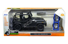 JADA 1992 JEEP WRANGLER W/EXTRA WHEELS MATT BLACK 1/24 DIECAST MODEL CAR 98020