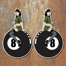 Pin Up Girl 8 Ball Stickers Pair Hot Rat Rod Vintage Classic Car VW Decal 2