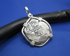 Sterling Silver 2 Reale Shipwreck Spanish Coin Replica Medallion Pendant
