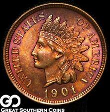 1901 Indian Head Penny, Red-Brown, Near Gem BU++ ** Free Shipping!