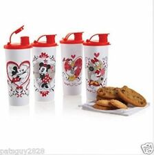 Tupperware Disney Valentines Tumblers 16 oz Set Of 4 Minnie Mickey Donald New