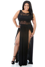 NEW Black Floral Lace Top Plus Size Sheer Double Split Slit Maxi Dress 18 20 UK