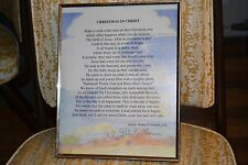 """Old picture frame w/ poem """"Christmas in Christ"""" by author Robert F Grames, D.R."""