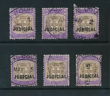 JAMAICA 1905 FIVE SHILLINGS GREY + VIOLET JUDICIAL OPT OVAL CANCEL ONLY 6 stamps