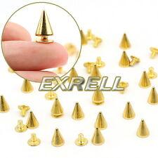20 Borchie Sfuse Cono Rivetti Metallo Tono Oro 10mm DIY Borse Scarpe Cintura