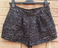 PRIMARK BLACK SILVER GLITTER SPARKLY FORMAL WORK TAILORED SHORTS HOT PANTS 8 S