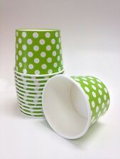 15 ICE CREAM CUPS LIME GREEN DOTS 16 OZ. PAPER