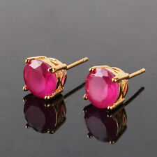 Pretty New 24k Yellow Gold Filled Round 4 Prong 7mm Ruby Red CZ Stud Earrings